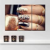 KOPASD Cuadro en Lienzo 60x80cmx3 Belleza de Las uñas del Brillo de Oro Impresión de 3 Piezas Material Tejido no Tejido Impresión Artística Imagen Gráfica Decoracion de Pared Ciudad