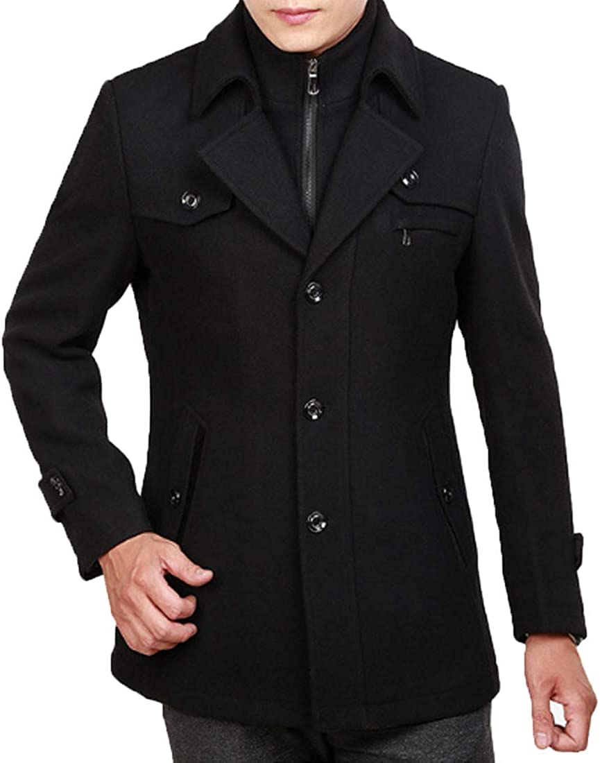 ONLYWOOD Men Single Breasted Double Collar Quilted Lined Wool Blend Pea Coat