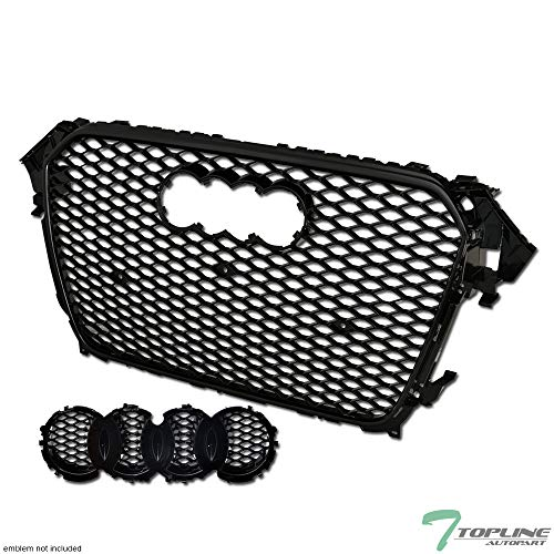Topline Autopart Black RS-Honeycomb Mesh Front Hood Bumper Grill Grille ABS For 13-15 Audi A4 / S4 B8.5