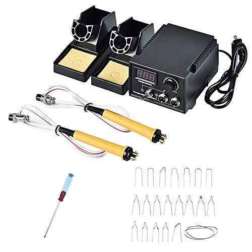 HUKOER Kit di utensili per la combustione del legno Strumento di pirografia professionale 60W regolabile macchina per pirografia con penna per bruciatore 2 pezzi