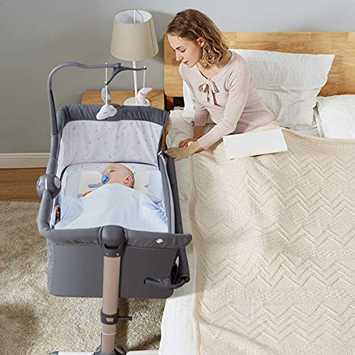 COSTWAY Bedside Sleeping Crib, Height Adjustable Baby Play Pen with Toy Rack, Music Box, Washable Mattress and Carry Bag, Side Sleeper Travel Cot for Newborn Toddler (Dark Grey)