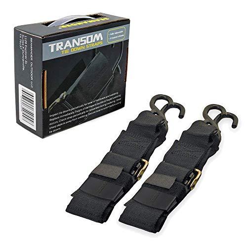 Seamander Marine Boat Trailer 2 inch Trailer Transom Tie-Down Straps (Black, 2-Piece)