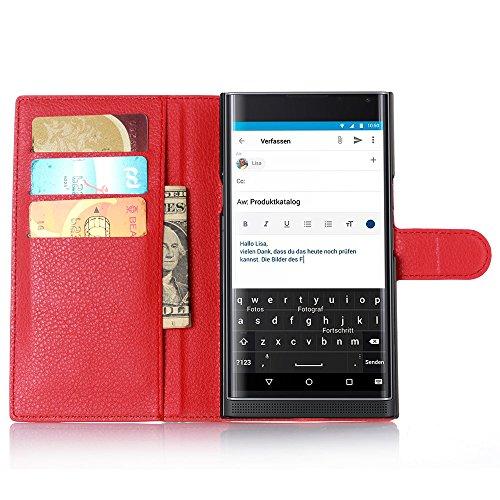 Easbuy Pu Leder Kunstleder Flip Cover Tasche Handyhülle Hülle Mit Karte Slot Design Hülle Etui für BlackBerry PRIV Smartphone Handytasche