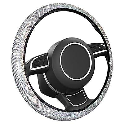 MIKKUPPA Bling Steering Wheel Cover - Universal 14.5 to 15 inch, Fit Vehicles, Sedans, SUVs, Vans, Trucks for Women and Girls - White