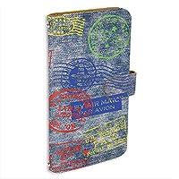 AQUOS sense3 plus (SHV46・SH-RM11・901SH) 対応 PU手帳型 ミラータイプ スマホケース [デニム風・カラースタンプ] トラベル Visa パスポート ビンテージ SHARP シャープ アクオス センススリー プラス au SoftBank SIMフリー スタンド スマホカバー 携帯カバー [FFANY] denim 00l_100@01m