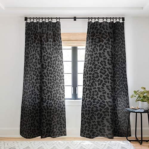 "Deny Designs 73667-shwc02 Avenie Leopard Print Black Sheer Curtains, 50"" x 96"""