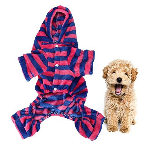 Ichiias Ropa para Mascotas Coral Fleece Azul Profundo Raya roja Otoño Invierno Cuatro pies Sudaderas para Perros Pijamas cálidos Ropa para Gatos(L)