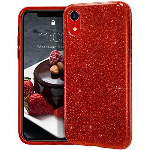 "MATEPROX iPhone XR case,Bling Sparkle Cute Girls Women Protective Case for iPhone XR 6.1""(Red)"