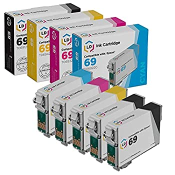 LD Remanufactured Ink Cartridge Replacements for Epson 69  2 Black 1 Cyan 1 Magenta 1 Yellow 5-Pack