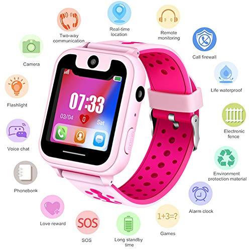 Niños Smartwatch Phone - Reloj de Pulsera Inteligente con Localizador LBS SOS Cámara Linterna Despertador Juegos Reloj Digital para Mirar Regalos Niño Niñas 4-12 años Compatibles con iOS Android,Rosa