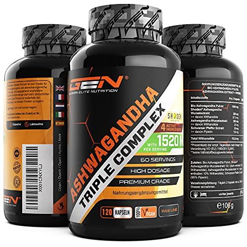 Ashwagandha Triple Extrakt Komplex - Premium: Ultra hochdosiert mit 1520 mg - Shoden® Ashwagandha-Wurzelextrakt (35{a4f51925a8fe5a7051a78a3af5c73e94dfc152e17d00fa1c3d847d38f274f1ed} Withanolide) + Bio Ashwagandha Pulver + Piperin - 120 Kapseln - Vegan