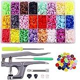 Botones de Presion T5 Botones Snaps Plastico Resin Botones,Alicates de Presión + 360 Set Resin,Resina DIY 24 Colores 12mm Conjunto