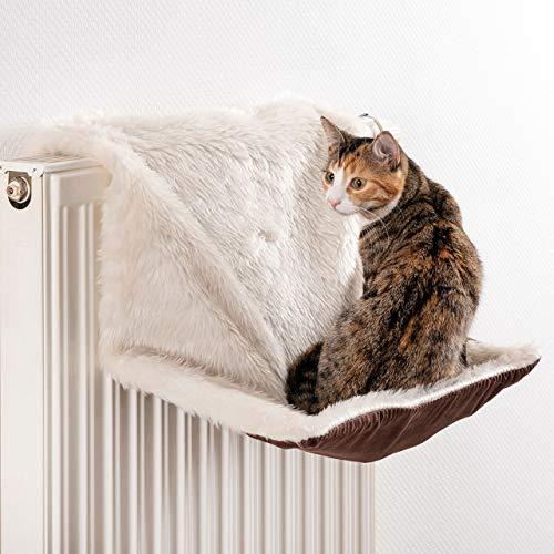 CanadianCat Company ® | Cel voor radiatoren | Lang haar pluche/suede | cream | Gezellige Sleep 1.0 | ca. 46 × 26 × 31 cm