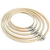 Pllieay 5 Pcs Bastidor Punto de Cruz Aros Bordado Punto de Cruz de Bambú Set de Anillo para Manualidades Costura a Mano, 13/17/20/23/26 cm