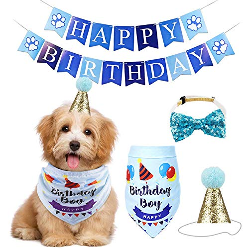 Sunwuun Hund Geburtstag Bandana Hut Banner Set, Haustier Hund Katze Geburtstag Caps Wiederverwendbare Headwear Bowknot Party Kostüm perfekte Hund oder Welpen Geburtstagsgeschenk (Blue)