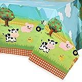 WERNNSAI Bauernhof Party Tischdecke - 2 PCS 137 x 274 cm Einweg-Kunststoff Tischtuch Bauernhof Thema Partyzubehör für Picknicks Babydusche Kinder Jungs Mädchen Geburtstag Partydekorationen