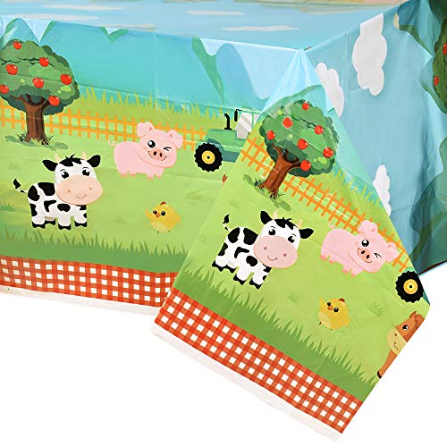 """WERNNSAI Farm Animal Party Tablecloth - 54"""" x 108"""" Disposable Plastic Table Cover Farm Theme Party Supplies for Picnics Baby Shower Kids Boys Girls Birthday Party Decorations"""