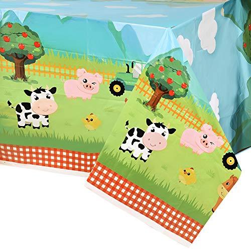 WERNNSAI Manteles de Granja - 4 PCS 137 x 274 cm Manteles de Plástico Desechable Suministros de Fiesta de Temáticas de Granja para Baby Shower Cumpleaños de Niños o Niñas Decoraciones de Fiesta