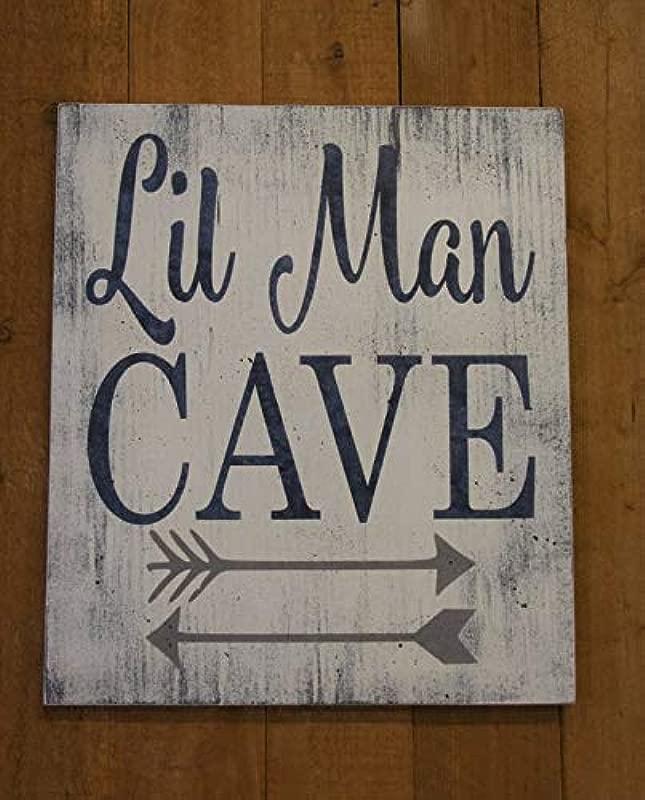 Ruskin352 Lil Man Cave Wood Plaque Sign Tribal Arrow Nursery Woodland Nursery Boys Nursery Wall Decor Gray And Navy Nursery Baby Gift Distressed Wood