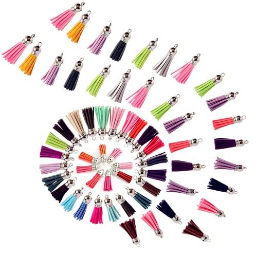 Colgantes de Borlas, Borlas de Ante con Gorras Multicolor Bolso de cuero con Borlas para Joyería Artesanía y Accesorios de Bricolaje, Surtido de Colores 60 Pack