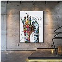 モダングラフィティハンドアート抽象ポスタープリントウォールアートキャンバス絵画写真リビングホームデコレーション-60x90cmx1フレームなし