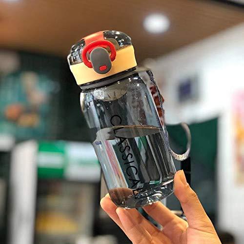Xiaobing Children's Life Simple Bounce Cover portátil al Aire Libre Material de la PC Taza de Agua Taza de plástico-negro-400ml