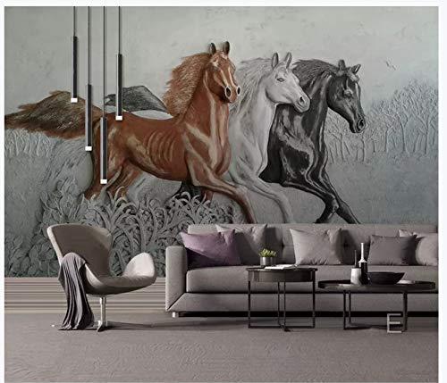Fototapeten Wand Tapete Wohnzimmer Schlafzimmer-Europäisches 3D-Pferdemotiv Mit Wandhintergrund, 430Cm X 300Cm (169.3 X 118.1 In)