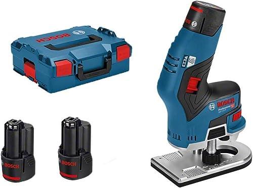 Bosch Professional Affleureuse Sans Fil GKF 12V-8 (2 batteries 3,0 Ah, 12 V, Ø de fraise: 8 mm, L-Boxx)