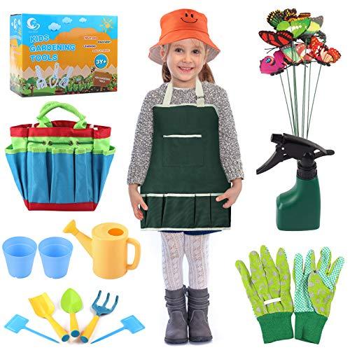 Joyhoop Attrezzi Giardinaggio Bambini, 9 Pezzi Set Giardinaggio per Bambini Guanti Grembiule Cappello Pale rastrello annaffiatoio e 10 Pezzi Farfalla in PVC Kit Regalo per Bambini