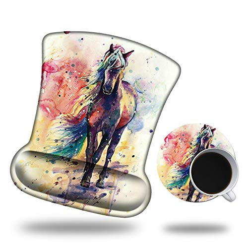 Ergonomic Mouse Pad with Wrist Support, Pain Relief Comfort Gel Wrist Rest Pad with Non-Slip PU Base for Gaming Home Office, with Watercolor Horse Coaster