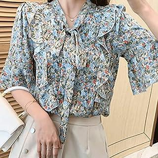 Wxcgbdx Womens T Shirts, Women's Summer Blouse Floral Bowknot Chiffon Shirt Loose Plus Size Short-sleeved Blouse Women (Co...