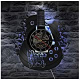 Reloj de pared LED de vinilo luminoso estilo guitarra Wall Clock de la lámpara...