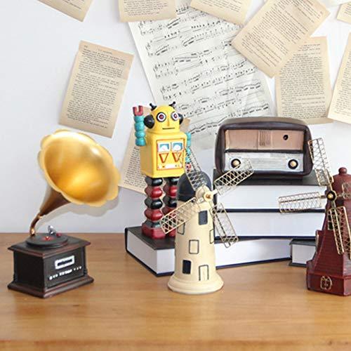 Lai-LYQ Hauptdekoration, Retro Grammophon Windmühle Roboter Miniatur Harz Figur Landschaft Für Wohnzimmer Kaffeeraum Büro Ornament TV Rot + Antenne
