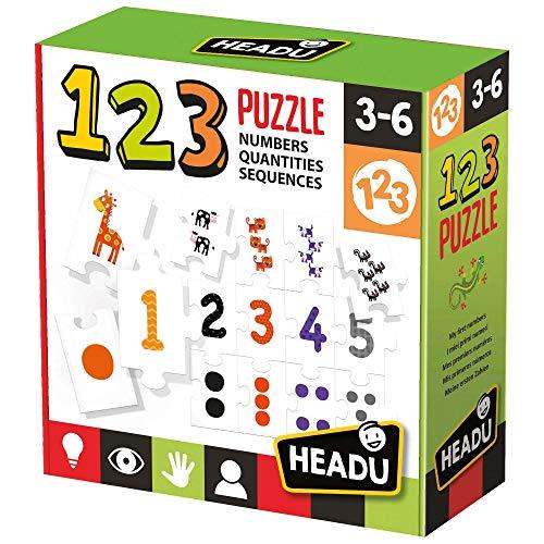 Headu IT21093 123 Puzzle Lernspiel zum Erkennen der Zahlen und Mengen entsprechend Empfohlen für Kinder von 3 bis 6 Jahren, Sortiert