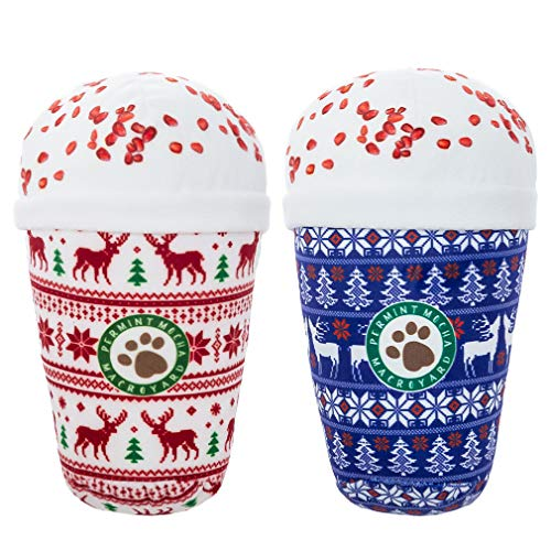 Christmas Squeaky Dog Toy - 2 Pack Coffee Series Interactive Plush Toys for Small Medium Dogs