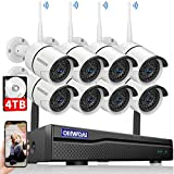 【2020 New】 Security Camera System Wireless, 4TB Hard Drive Pre-Install 8 Channel 1080P NVR, 8PCS 1080P 2.0MP CCTV WI-FI IP Cameras for Homes,OHWOAI HD Surveillance Video Security System.