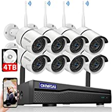 【2021 New】 Security Camera System Wireless, 4TB Hard Drive Pre-Install 8 Channel 1080P NVR, 8PCS 1080P 2.0MP CCTV WI-FI IP Cameras for Homes,OHWOAI HD Surveillance Video Security System.