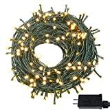 OZS-82FT 200LED Super Bright Extendable Christmas String Lights Indoor/Outdoor, Waterproof 8Modes (UL Certified) Green Wire Fairy Starry String Lights for Xmas Tree Garden Patio Wall Decor(Warm White)