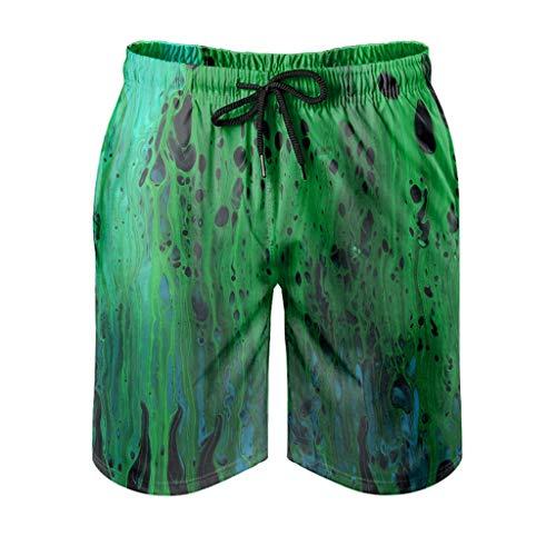 Kikomia Abstract Short de plage pour homme Motif marbre vert M Blanc
