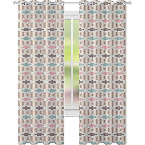 YUAZHOQI Cortina abstracta para puerta francesa, diseño geométrico de colores pastel con rombos y rayas, composición tribal para decoración de niños, cortinas personalizadas, 132 x 183 cm, multicolor