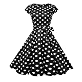 JYC Women's 1950s Classy Floral Pattern Print Cocktail Evening Swing Party Dress Vintage Rockabilly Swing Dress Casual Evening Party Prom Swing Dress (Black, Large)