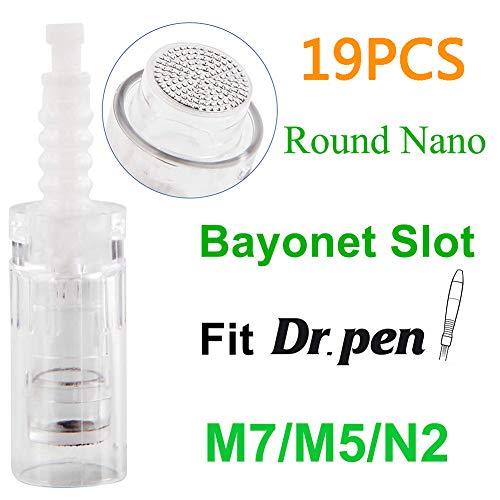 Micro Aiguille Nano de la Cartouche Remplacement Cartouches Aiguilles Derma Stylo pour Dr Pen M5/M7/N2 (19 Pièces Round Nano)