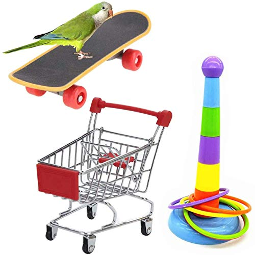Wonninek 3 Stück Papageien-Spielzeug Mini Einkaufswagen Training Ringe Skateboard Ständer Sitzstange für Wellensittiche Sittiche Nymphensittiche Sittiche Nymphensittiche Unzertrennliche