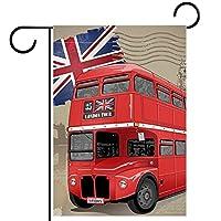 ウェルカムガーデンフラッグ(12x18in)両面垂直ヤード屋外装飾,英国の赤いバス