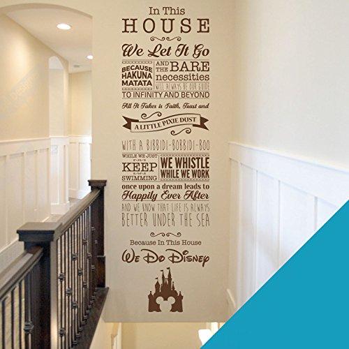 Sticker mural avec inscriptions en anglais tirées de films de Disney pour chambre d'enfant ou salle de jeux - La Fée Clochette, Toy Story, la Petite Sirène, Le Roi Lion, bleu ciel, Large (1520 x 435mm)