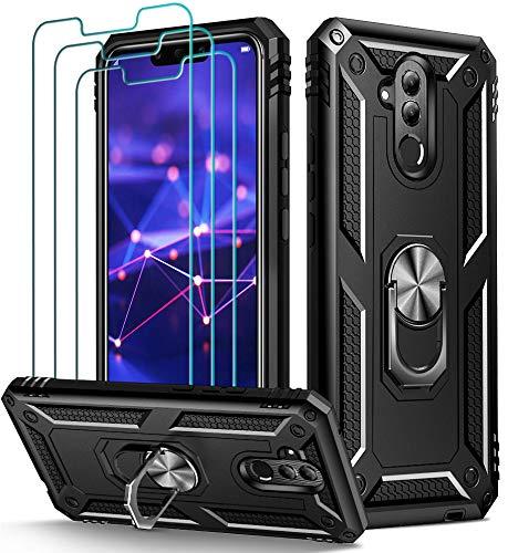 ivoler Funda para Huawei Mate 20 Lite + [Cristal Vidrio Templado Protector de Pantalla *3], Anti-Choque Carcasa con 360 Grados Anillo iman Soporte, Hard Silicona TPU Caso - Negro