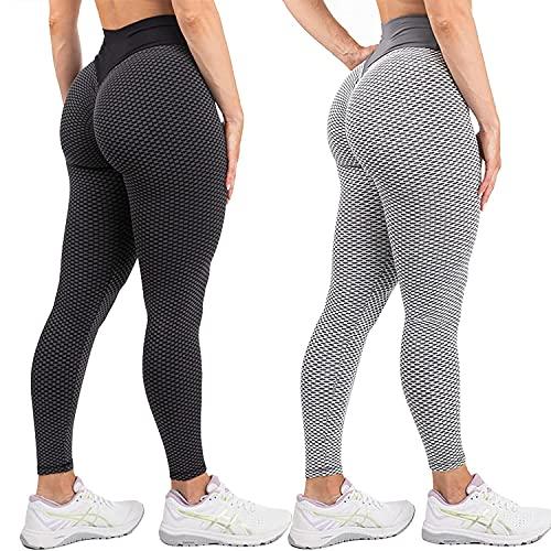 SHUOYUE Leggings para Mujer Push Up 2 Piezas Pantalones de Yoga Cintura Alta Mujer Leggings Deportivos Mallas para Yoga Fitness Entrenamiento Pantalón Elásticos Anticelulíticos (Gris+Negro, L)