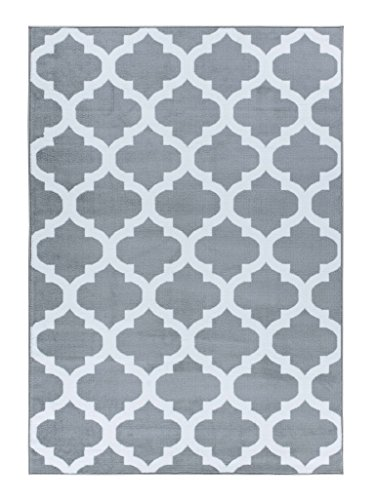 A2Z Rug Trendy5309 Trellis Silver 120x170cm - 3'11'x5'7'ft Area Rugs