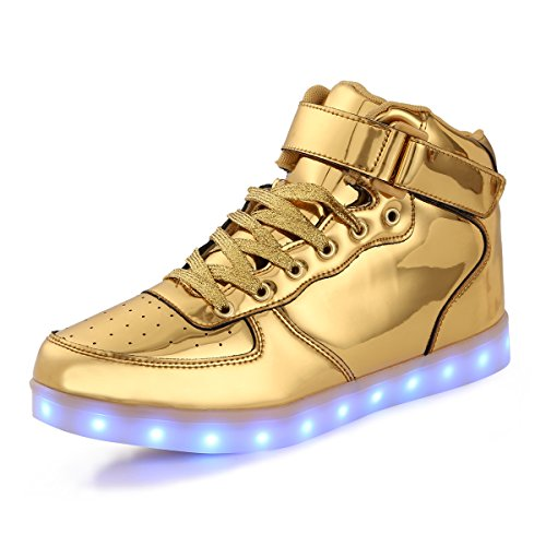 AFFINEST Led Light Up Shoes for Men Women High Top Casual Flashing Fashion Sneakers Leather Upper Boots with USB Charging