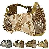 AOUTACC Máscara plegable de airsoft, máscara de malla de media cara con protección para los oídos para juego de guerra CS, pistola BB, caza, paintball (DD)